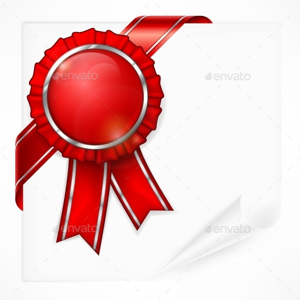 Red Award Label on Paper - Miscellaneous Vectors