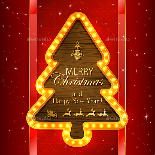 Red Christmas Background with Light Frame - Christmas Seasons/Holidays