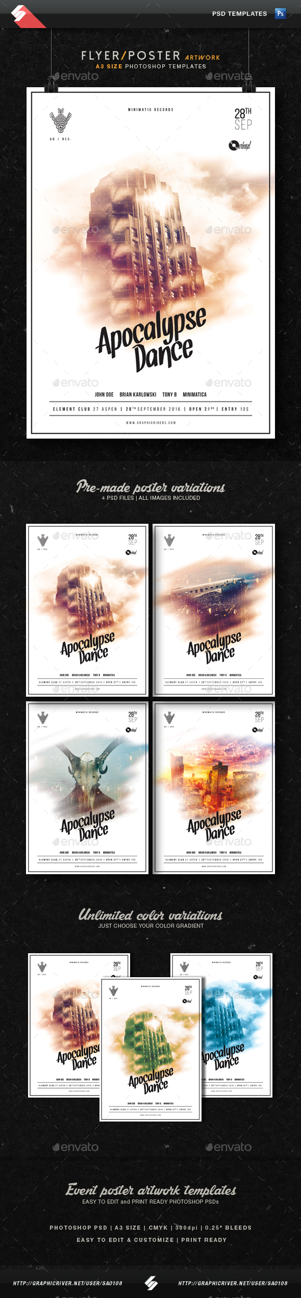 Apocalypse Dance - Party Flyer Templates A3 - Clubs & Parties Events