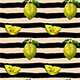 Vector Watercolor Lemons and Stripes Pattern - GraphicRiver Item for Sale