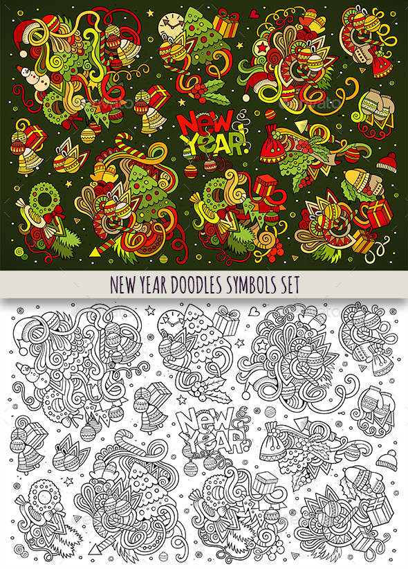 New Year Doodles Objects Set - New Year Seasons/Holidays