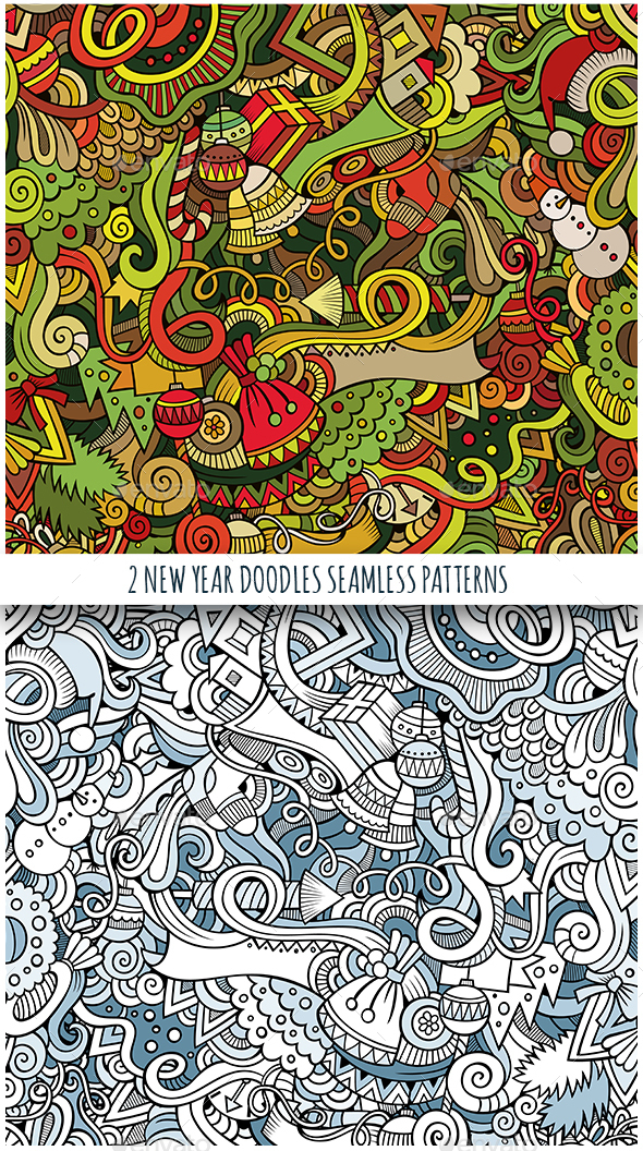 2 New Year Doodles Seamless Pattern - New Year Seasons/Holidays