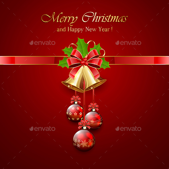 Christmas Bell and Holly Berries on Red Background - Christmas Seasons/Holidays