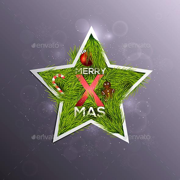 Christmas Label Made of Pine Branches - Christmas Seasons/Holidays