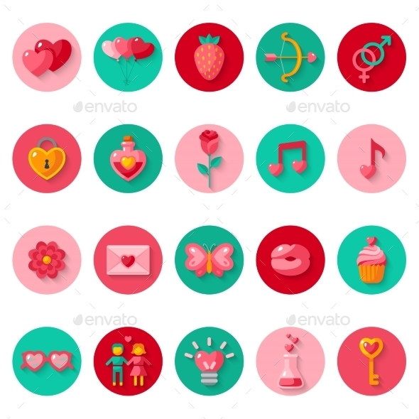 Valentines Day Icons Elements Collection.  - Valentines Seasons/Holidays