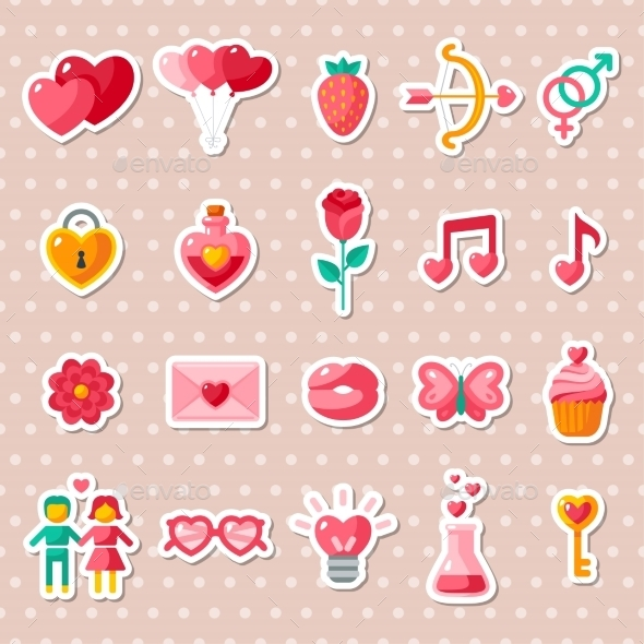 Valentine's Day Icons Elements Collection.  - Valentines Seasons/Holidays