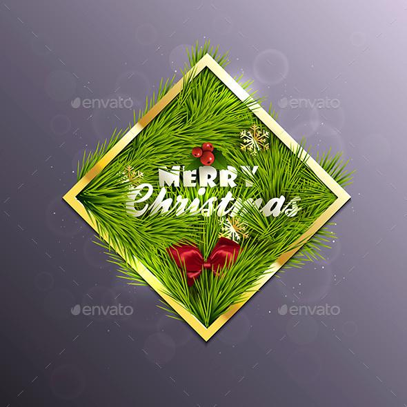 Christmas Label Made of Gold Frame - Christmas Seasons/Holidays