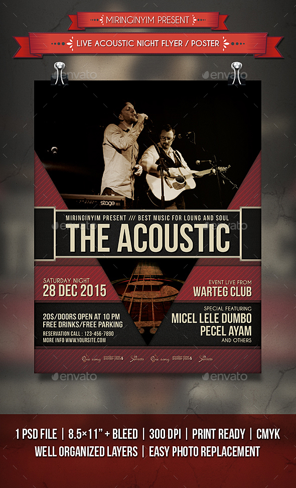 Live Acoustic Night Flyer / Poster - Events Flyers