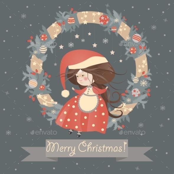 Lady Christmas in Wreath - Christmas Seasons/Holidays