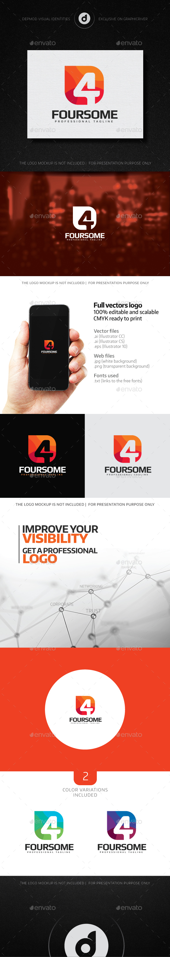 Foursome Logo - Numbers Logo Templates