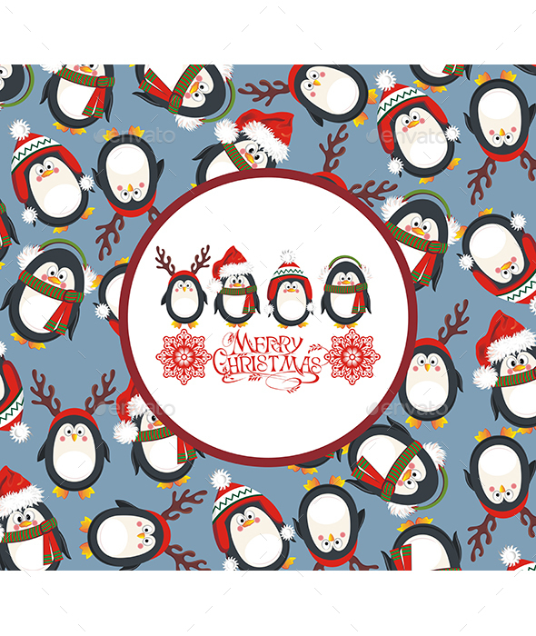 Christmas Background with Cute Penguins - Christmas Seasons/Holidays