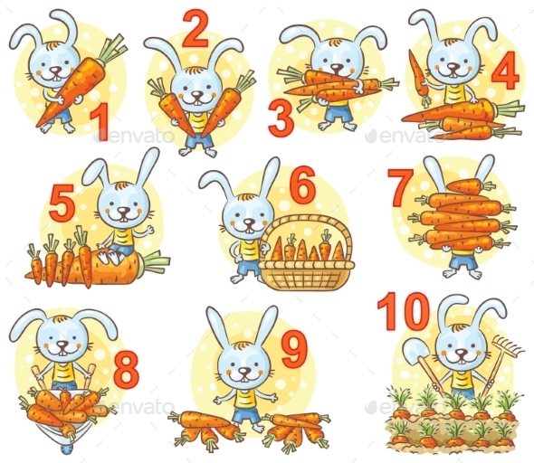Numbers In Pictures Set, Rabbit And His Carrots - Miscellaneous Vectors