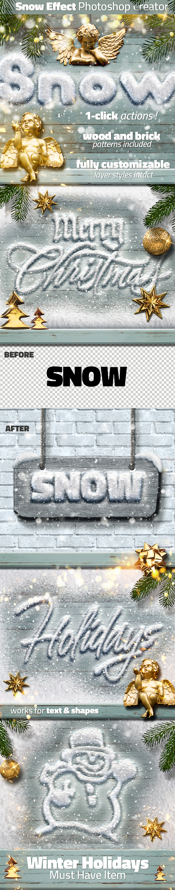 Snow and Wood Photoshop Winter Sign Creator - Text Effects Actions