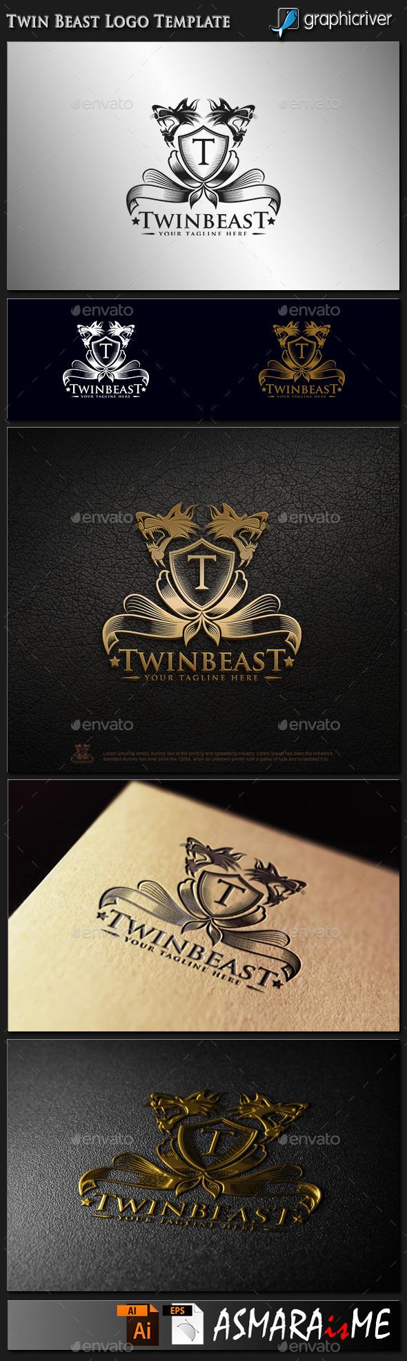Twin Beast - Royal Predator Logo - Animals Logo Templates