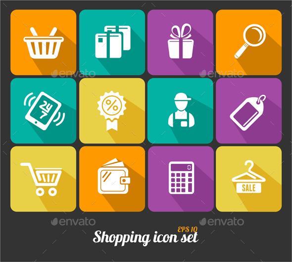 Shopping Icons Flat - Retail Commercial / Shopping