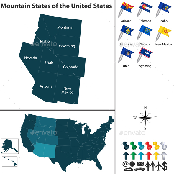 Mountain States of the United States - Travel Conceptual