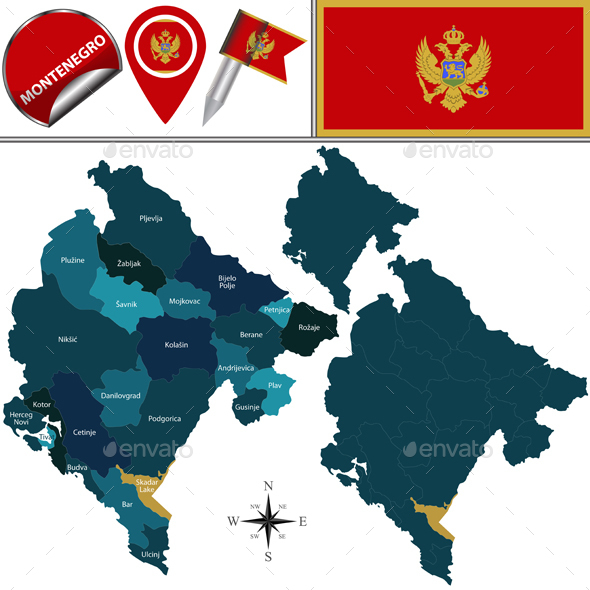 Map of Montenegro - Travel Conceptual