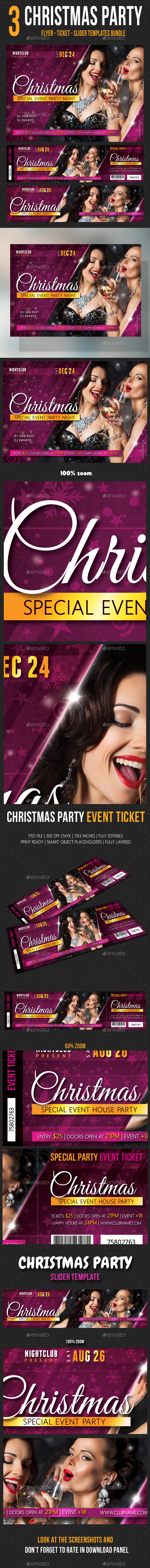 3 in 1 Christmas Party Flyer Ticket Slider - Holidays Events