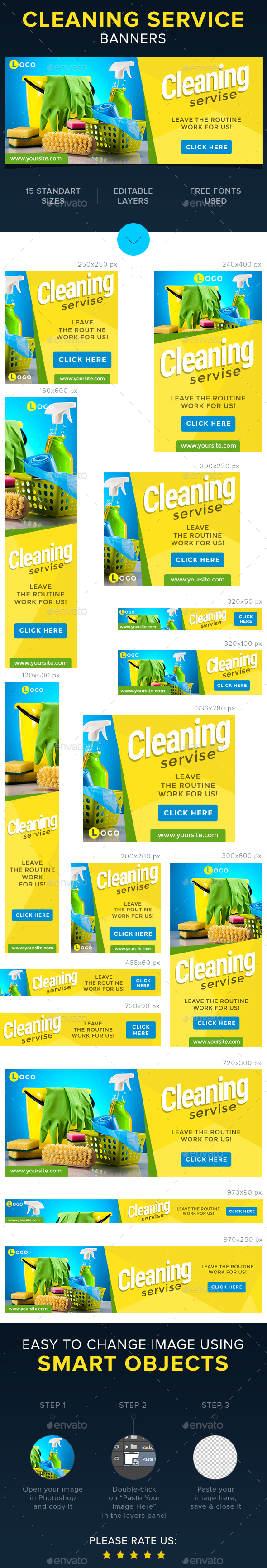 Cleaning Servise Banners - Banners & Ads Web Elements