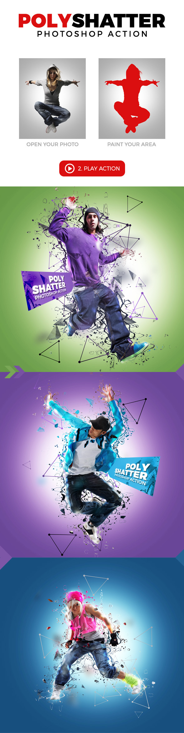 Poly Shatter Photoshop Action - Photo Effects Actions