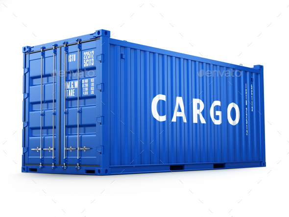 Cargo shipping container isolated on white. Delivery. - Stock Photo - Images