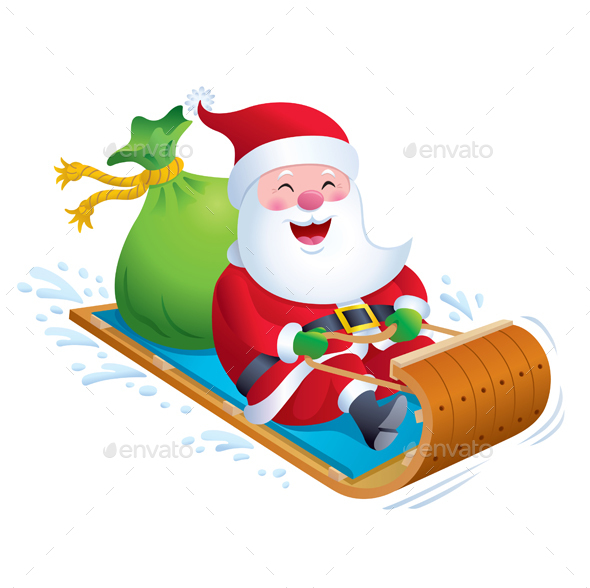 Santa Riding Wooden Toboggan Snow Sled - Christmas Seasons/Holidays