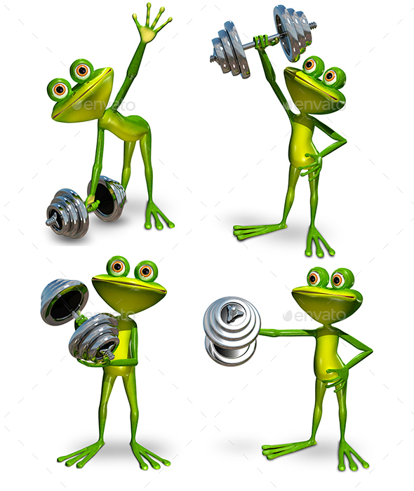 Frog with dumbbell - Animals Illustrations