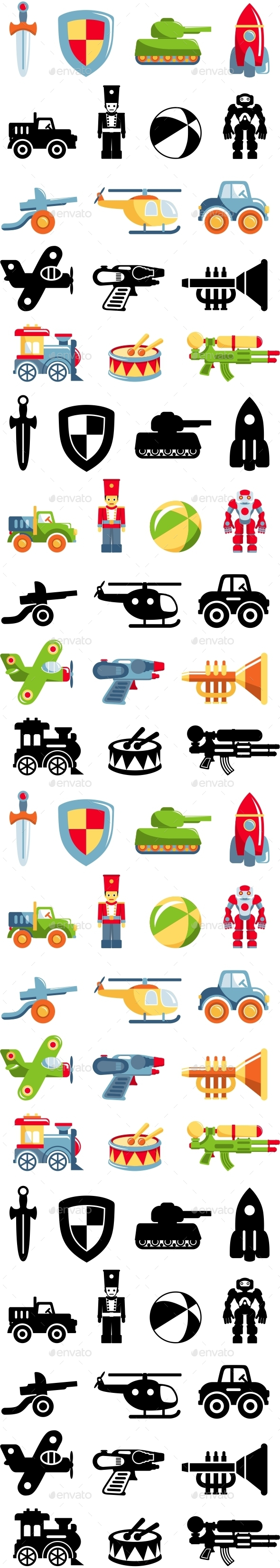Set of Toys for Boys in Flat Style - Man-made Objects Objects