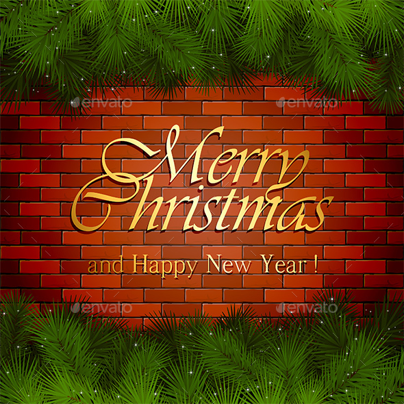 Golden Inscription Merry Christmas on a Brick Wall - Christmas Seasons/Holidays