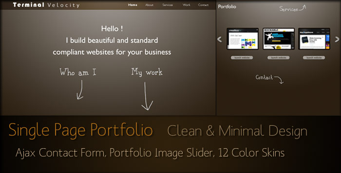 Free Download Terminal Velocity - Minimalistic Single Page Folio Nulled Latest Version