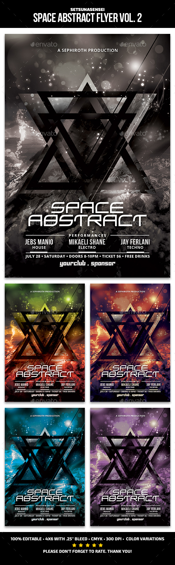 Space Abstract Flyer Vol. 2 - Clubs & Parties Events