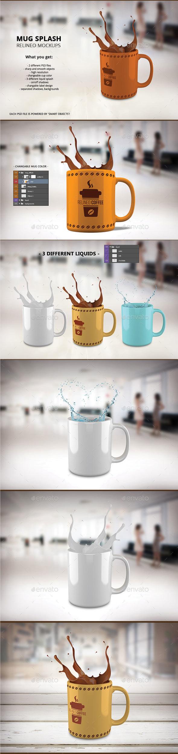 Mug Splash Mock-up Pack - Product Mock-Ups Graphics