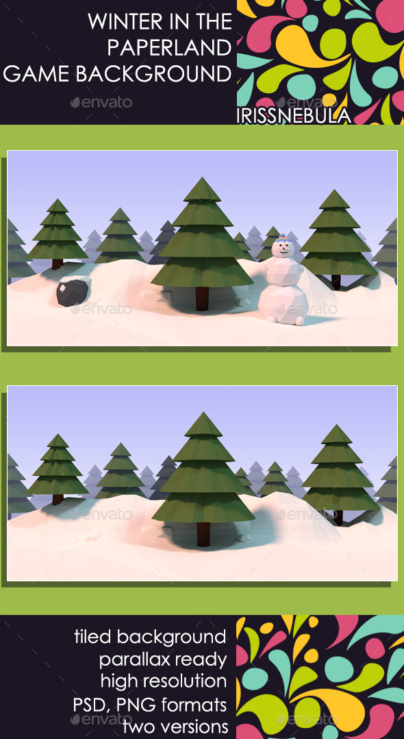 Winter in the Paperland Game Background - Backgrounds Game Assets