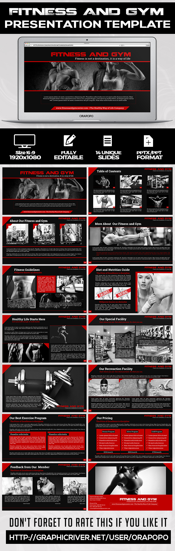 Fitness and Gym Presentation Template - Creative PowerPoint Templates