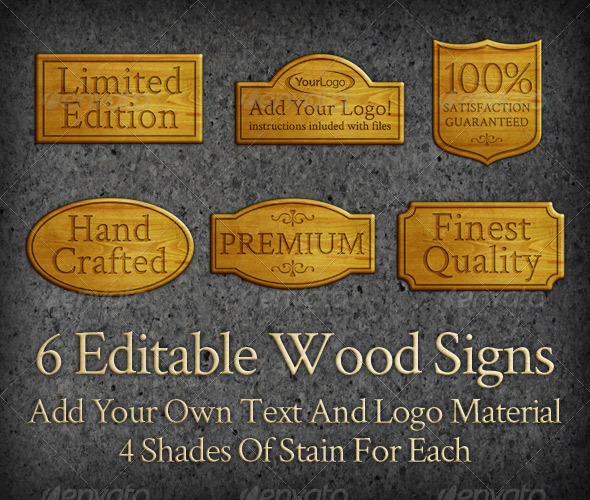 6 Editable Wood Signs - Miscellaneous Web Elements