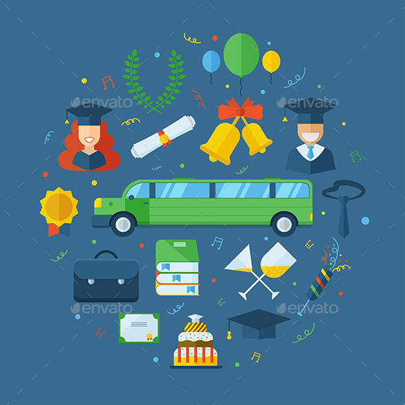 Graduation Celebrating Concept Icon Set - Conceptual Vectors