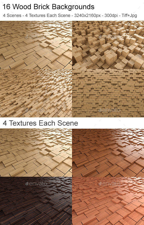 Wood Brick Backgrounds - 3D Backgrounds