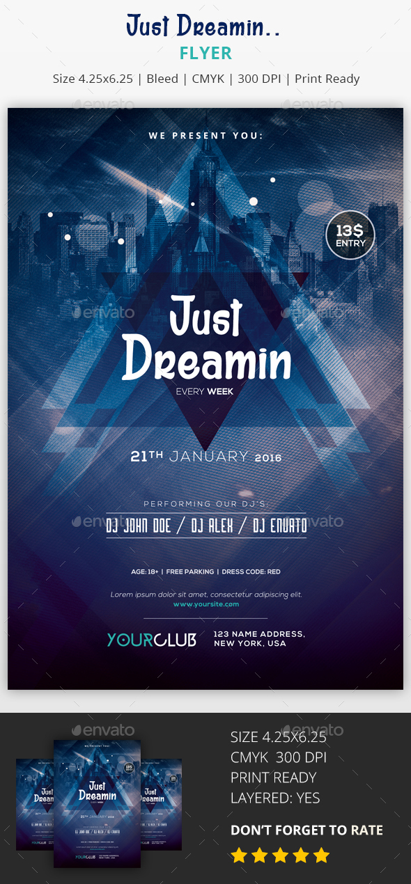 Just Dreamin - PSD Flyer - Clubs & Parties Events