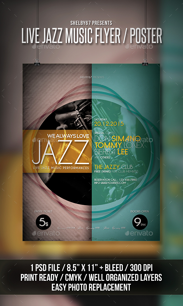 Live Jazz Music Flyer / Poster - Events Flyers