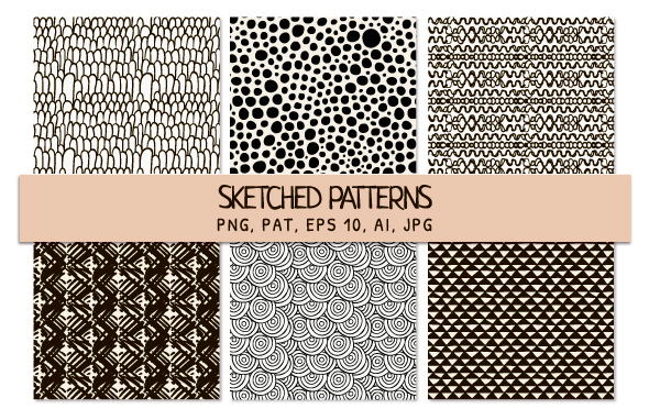 6 Black Sketched Seamless Patterns - Textures / Fills / Patterns Photoshop