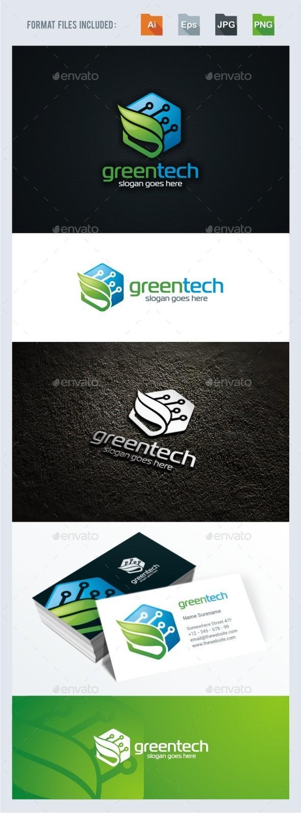 Green Leaf - Tech Logo Template - Symbols Logo Templates