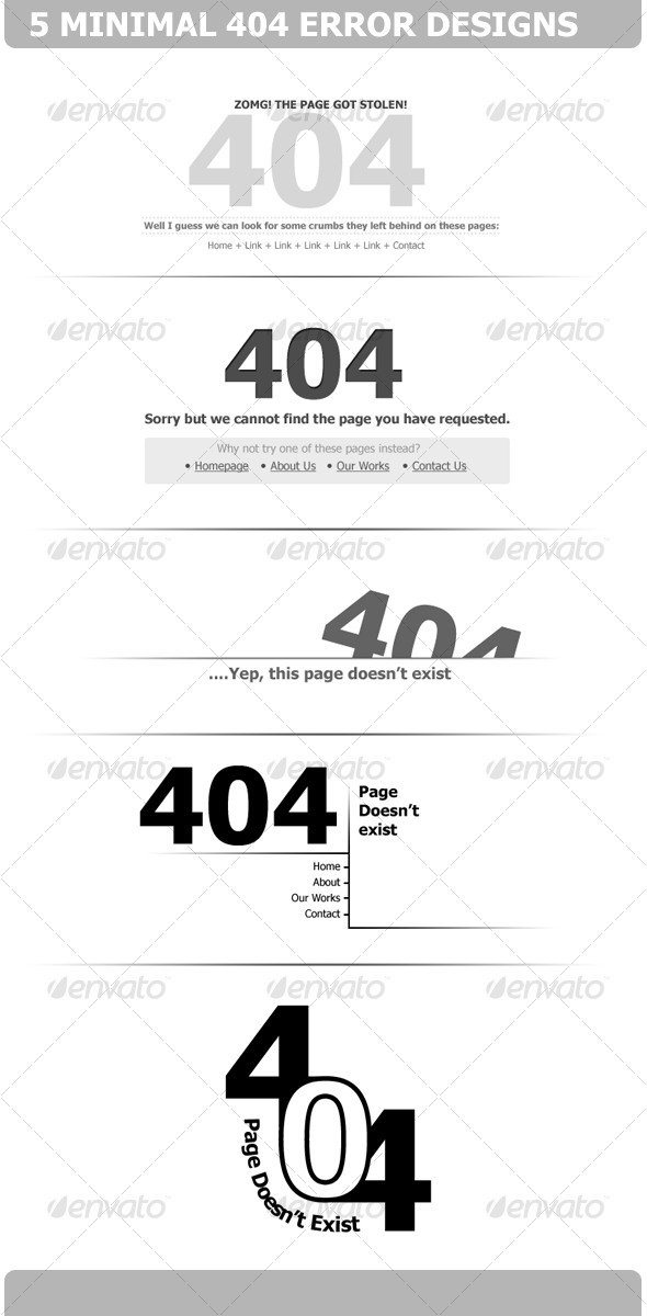 5 Minimal 404 Error Designs - Web Elements
