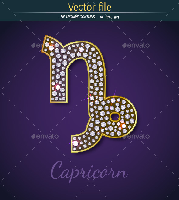 Jewelry Sign Capricorn with Gold - Decorative Symbols Decorative