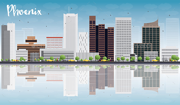 Phoenix Skyline with Gray Buildings - Buildings Objects