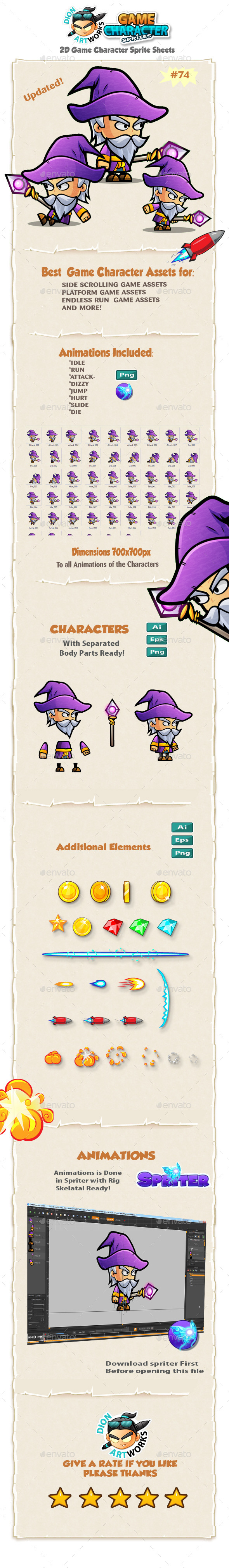 Wizard 2D Character Spritees 74 - Sprites Game Assets
