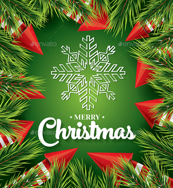 Christmas Card with White Snowflake on Green