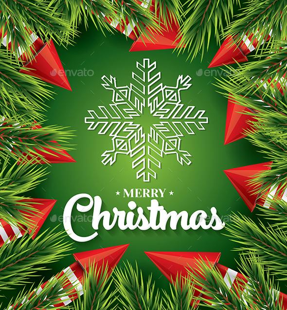 Christmas Card with White Snowflake on Green - Christmas Seasons/Holidays
