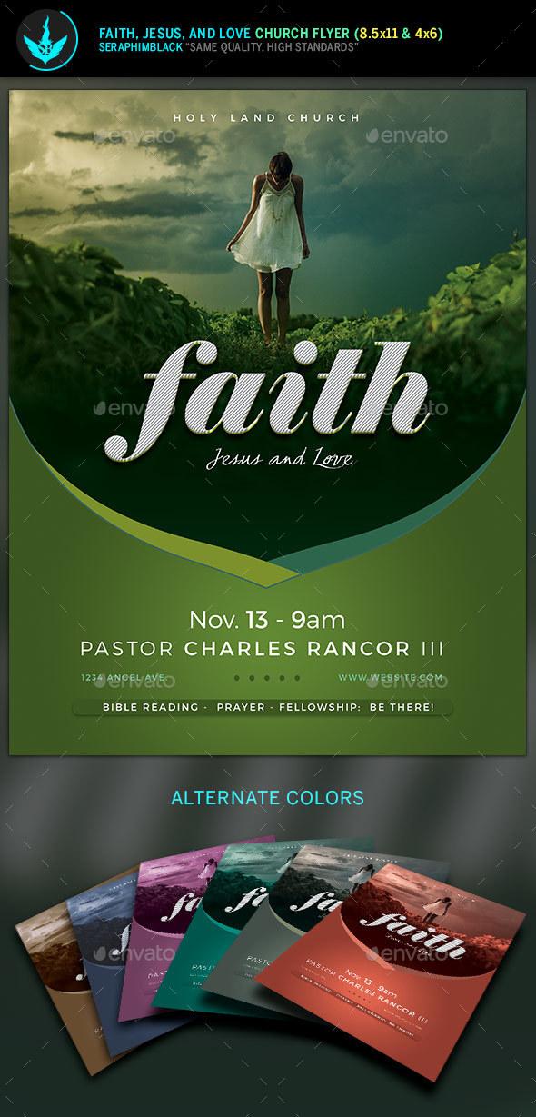 Faith Jesus and Love Church Flyer Template - Church Flyers