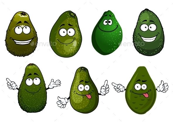 Funny Green Avocado Fruits Cartoon - Food Objects