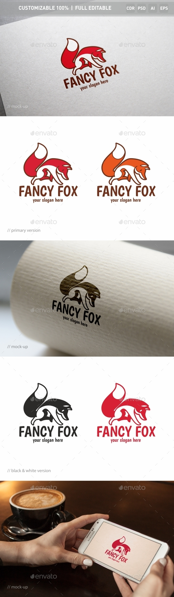 Fancy Fox Logo Template - Objects Logo Templates